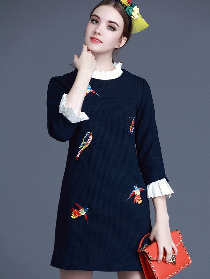 Shop Navy Collar Length Sleeve Embroidered Dress online. SheIn offers Navy Collar Length Sleeve Embroidered Dress & more to fit your fashionable needs.
