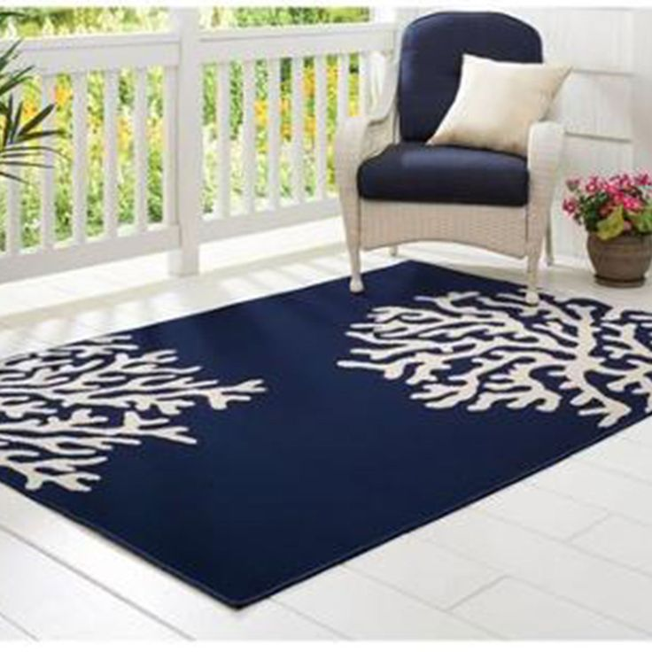 Small Beautiful Dark Blue Outdoor Patio Rug With White Pattern