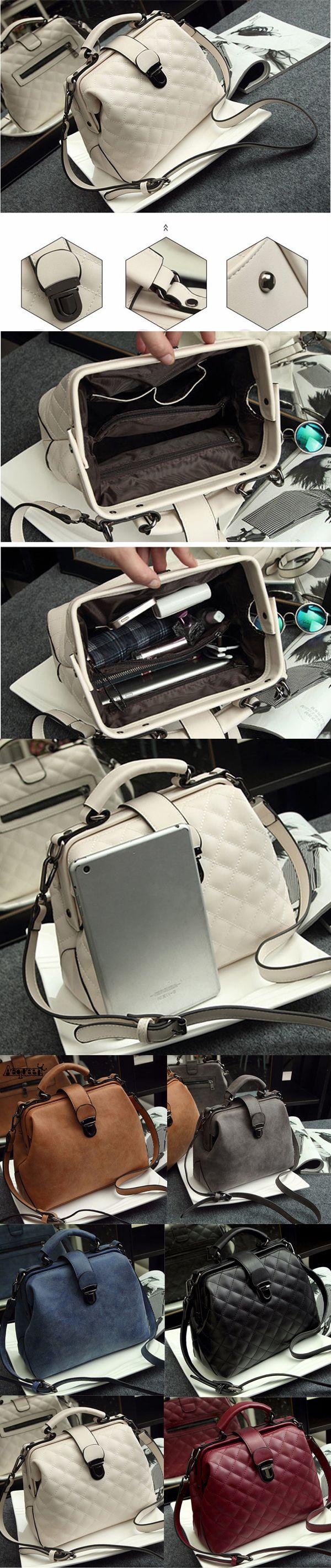 [$ 25.99]   Stylish Doctor Bag Vintage Shoulder Bag PU Leather Crossbody Bag Phone Bag