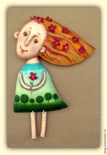 """Коллекционные куклы ручной работы. текстильная грунтованная кукла """"Весна"""". Юлия Гапуник. Авторские куклы. Интернет-магазин Ярмарка Мастеров."""
