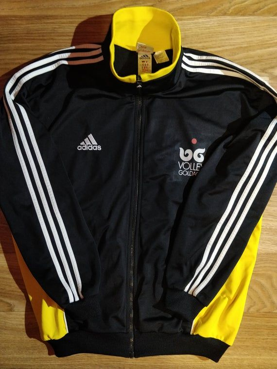 Adidas 90's Vintage Mens Tracksuit Top Jacket Black White