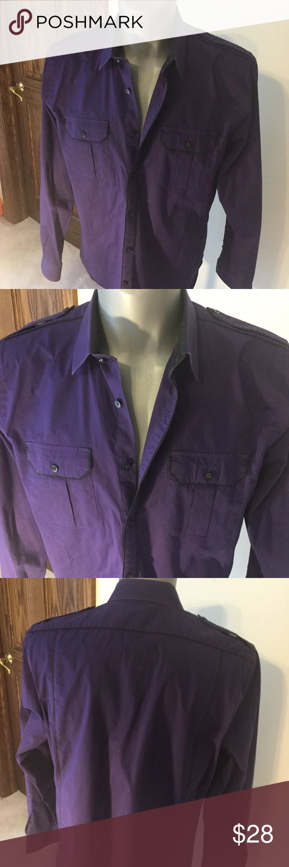 Men's Slim fit Express MK2 Men's Slim fit Express MK2 Purple with black trim Two buttoned pockets on front  XL - 17-17.5 - sharpie marker on inside of bottom from dry cleaner Express Shirts Casual Button Down Shirts