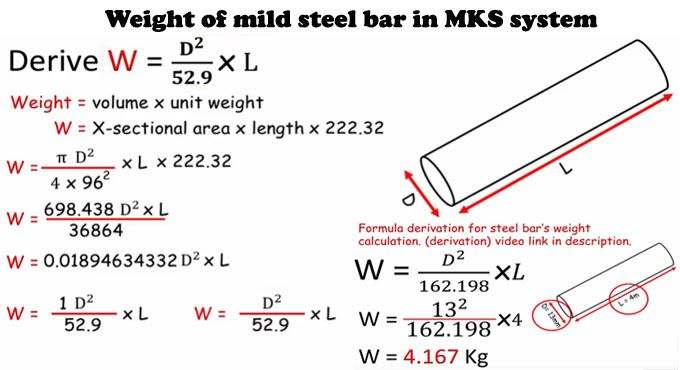 How To Determine The Weight Of Mild Steel Bar In Mks System In 2020 Steel Bar Engineering Education Concrete Calculator