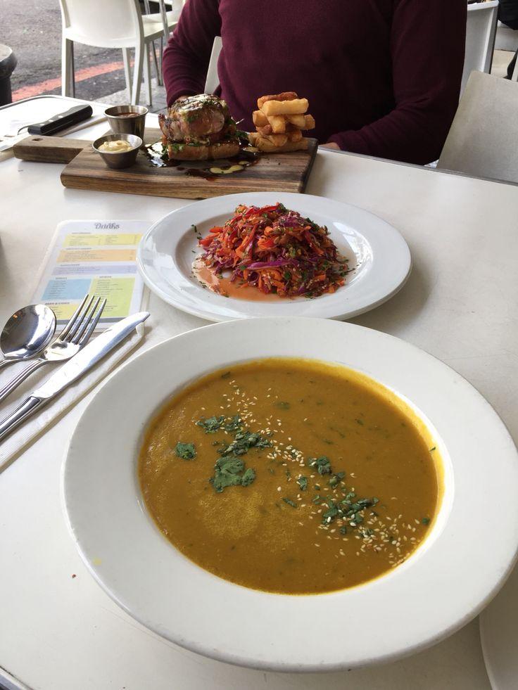 @lola's in Cape Town  Lentil soup + asian salad! delicious