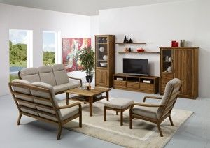 The photo shows – Please click on the photo for a better closeup of the table and wall unit: 1260H highback chair w/Ambassador 95 1260H/2 highback 2-seater w/Ambassador 95 1260H/3 highback 3-seater w/Ambassador 95 1260FS footstool w/Ambassador 95 1254-85×85 coffee table w/shelf 1182-64M china cabinet TV3-3 TV cabinet 1176-163M wall hanging shelf 1176-112M wall hanging shelf 1141M highboard
