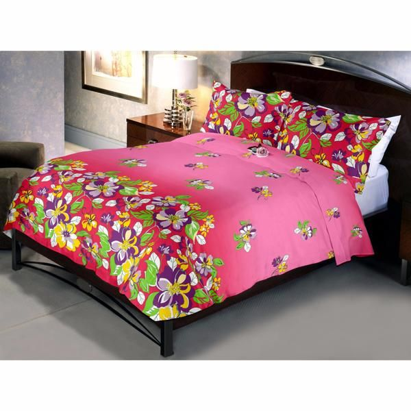 Reddish Pink Flowery Bed Sheet Is Having Multicoloured Flower Designs Which Would Be Liked By Kids The Most.