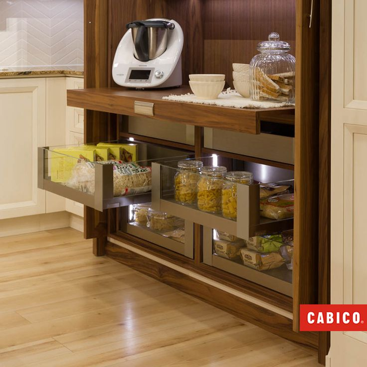Delightful A Pull Out Countertop Transforms This Hidden Pantry Into A Workable Space.  Retractable Doors Keep