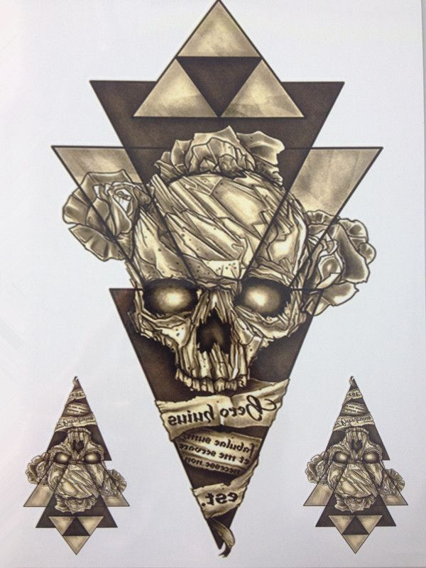 2017 NEW Simple Design Triangle Skeleton 21 X 15 CM Sized Sexy Cool Beauty Tattoo