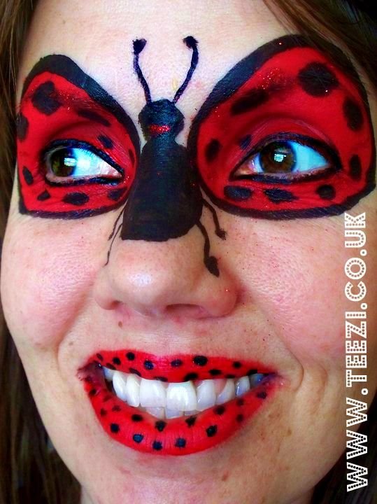 ladybug face paint face way cute and simple face ive. Black Bedroom Furniture Sets. Home Design Ideas