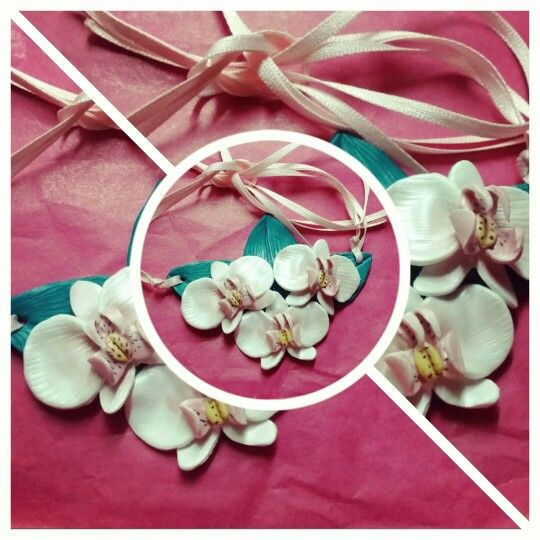 Fimo Orchid necklace