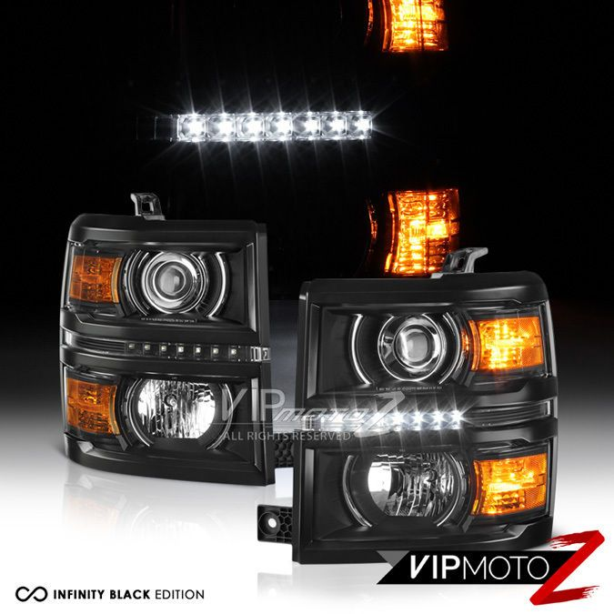 "2014-2015 Silverado 1500 ""PROJECTOR STYLE w/ LED DRL"" Black Front Headlight Lamp #VIPMOTOZ"