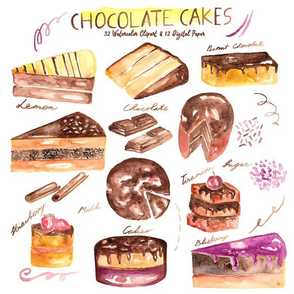 Chocolate Cakes Watercolor  by Anissa Anwar on @creativemarket