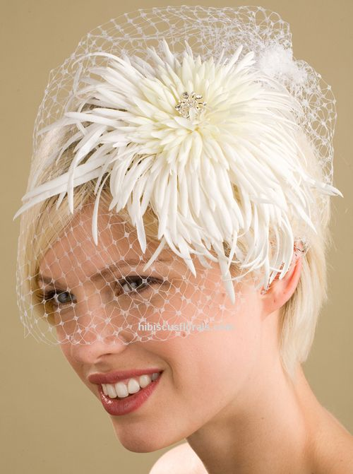 Wedding Hats For Short Hair: White Birdcage Veil With Hair Fascinator