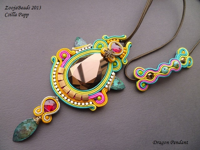 Soutache pendant, colorful soutache pendant, Swarovski crystal and soutache pendant. $120.00, via Etsy.
