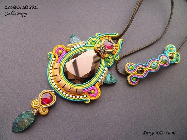 Soutache pendant, colorful soutache pendant, Swarovski crystal and soutache pendant. $120.00, via Etsy.