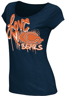 Reebok Chicago Bears Women's Painted Love Burnout Short Sleeve T-Shirt - Dick's Sporting Goods