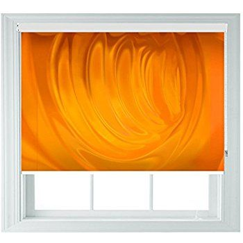 Orange Roller Blind Juice Style Various Sizes Black Out Roller Blinds for Bedrooms Bathrooms Kitchens and Caravans AOA® (orange juice 4ft/122cm)