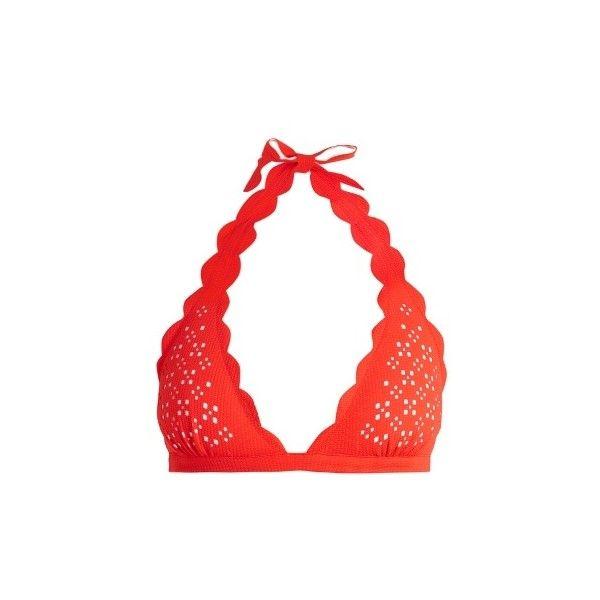 Marysia Swim Spring scallop-edged triangle bikini top ($225) ❤ liked on Polyvore featuring swimwear, bikinis, bikini tops, red white, halter bikini tops, red triangle bikini, red bikinis, halter bikinis and white triangle bikini