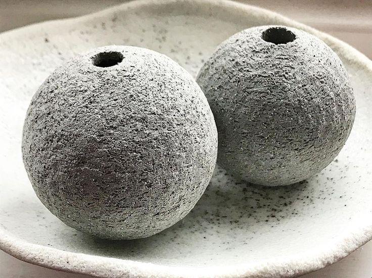 Grogged balls I say grogged balls. . Actually theyre components for another wall talisman Im hoping to have ready for #madelondon next week. . One Marylebone London 19-22 October stand 20 . #sphere #orb #ceramicsculpture #groggedclay #walltalisman #jewelleryforthehome #tamaragomezstudio #spiritinspired #stoneware #turningearth#cockpitarts #pottery #ceramics #clay #spiritinspired #eastlondon #design #madeinlondon #craftanddesign #craft #design #pottersofinstagram #studioceramics #handmade…