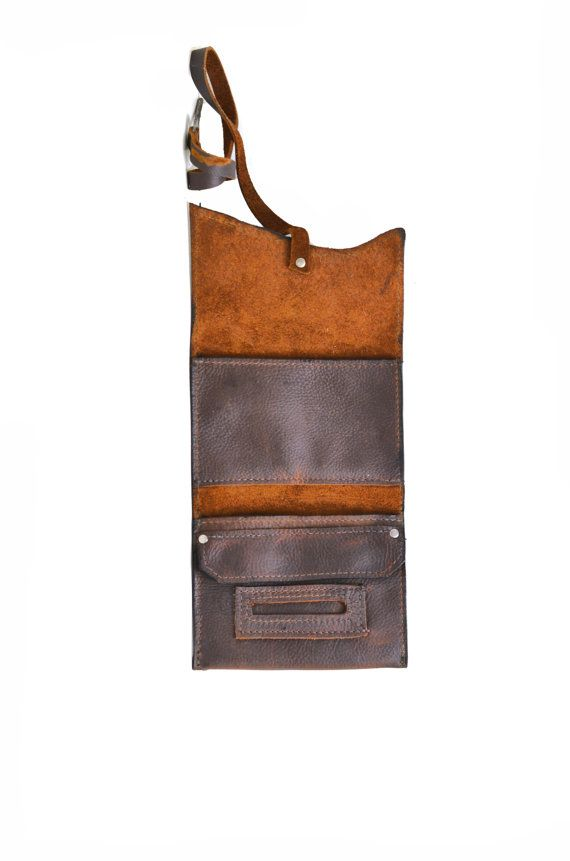 Leather Tobacco Pouch Distressed Leather Tobacco von DivinaDenuevo