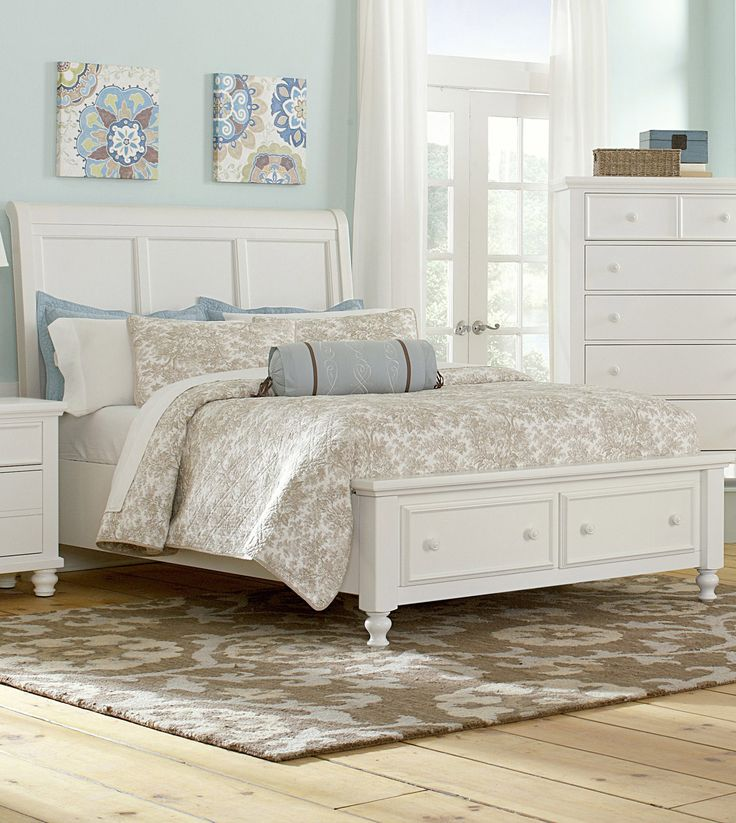 Ellington queen sleigh storage bed in white vaughan for Ellington bedroom set