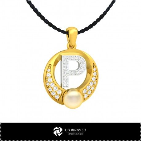 3D CAD Pearl Pendant with Letter P