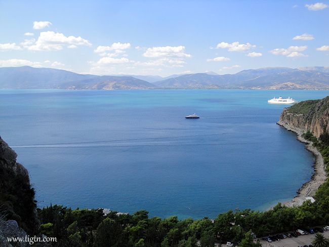 View of the #Argolic Bay from halfway to the top of the steps leading to #Palamidi Castle in #Nafplio, #Greece