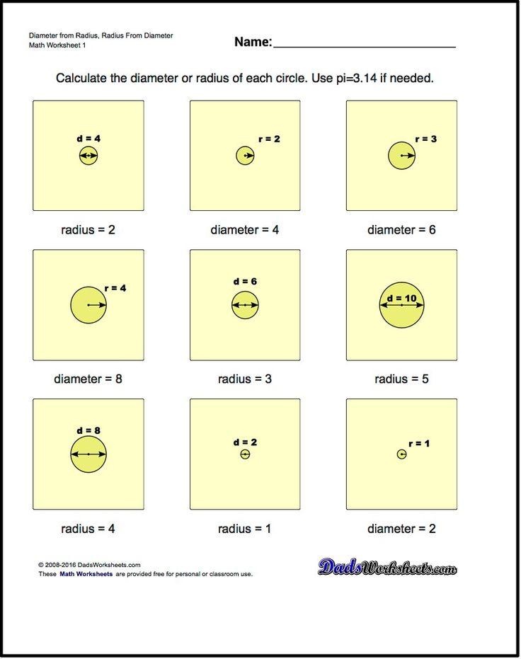 radius and diameter worksheet pdf