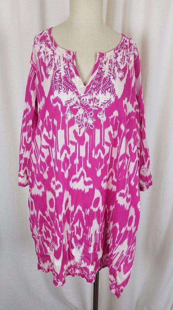 Gretchen Scott Designs Inkblot Embroidered Summer Tunic Dress Womens XL Fuchsia #GretchenScott #SummerBeachCoverUpTunicDress #Casual