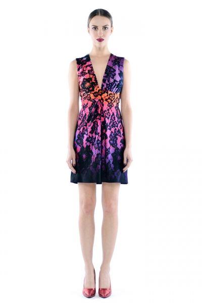 Magda Mini - Multicolor - wyszczuplająca sukienka z kolorowym printem