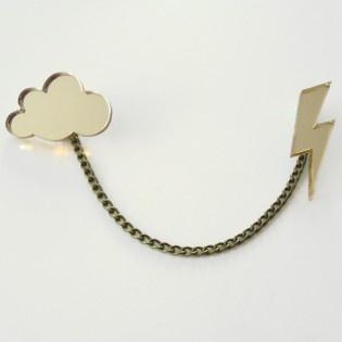Altın Bulut Şimşek Broş by Lucky Beads