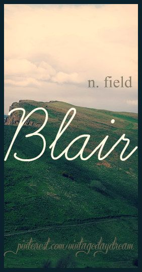 Baby Girl or Boy Name: Blair. Meaning: Field or Plain. Origin: Scottish; Gaelic. https://www.pinterest.com/vintagedaydream/baby-names/