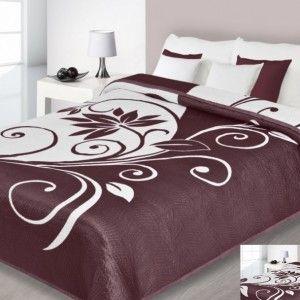 Bielo - hnedý obojstranný prehoz na posteľ