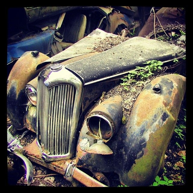Rusty Riley at the classic car junkyard in Kaufdorf, Switzerland. #Padgram