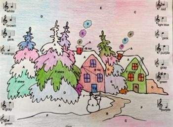 Students will enjoy coloring this Musical Winter in the Woods while learning and reviewing the note names in treble clef, including Bb and F#. Students color spaces labeled with letters which correspond to notes on the treble staff.   http://www.teacherspayteachers.com/Product/Music-Musical-Winter-in-the-Woods-Treble-Clef-Color-Sheet-1604890