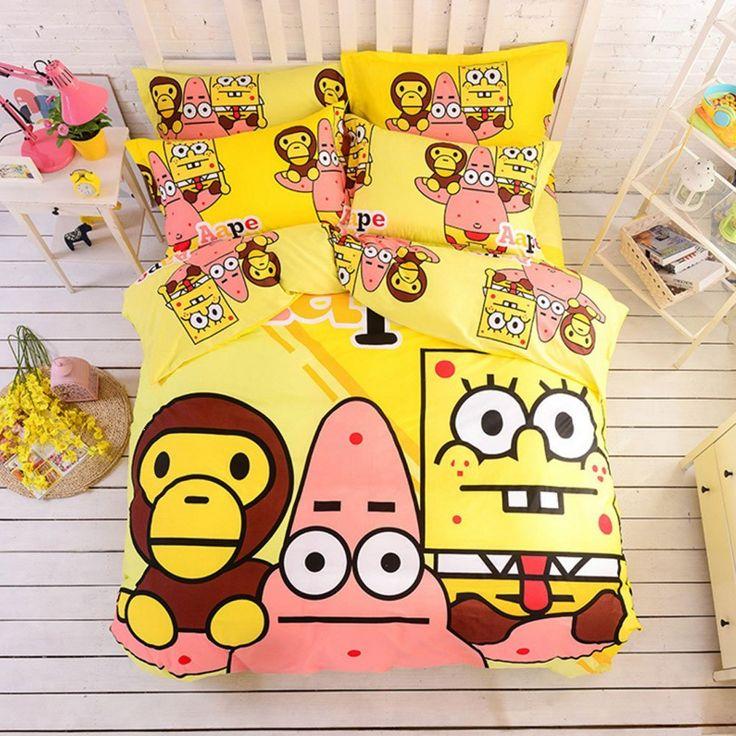Cartoon Printing Duvet Cover Set Ape Kids Bedding Boys Girls 100% Cotton Bedding Set Cute Bedding Sets Birthday Christmas Gifts for Children (Queen, #5) //Price: $226.42 & FREE Shipping //     #bedding