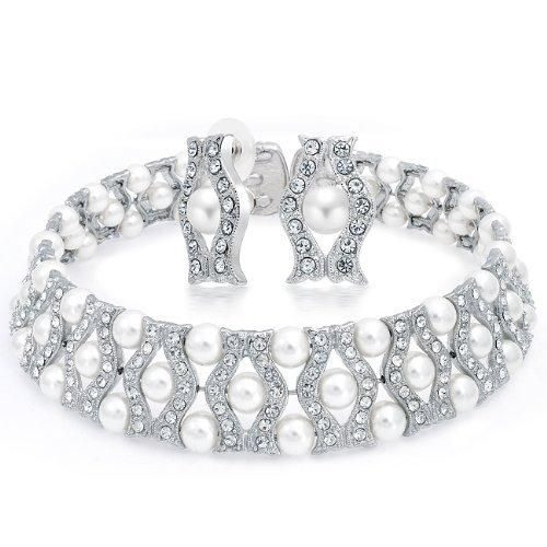 Bling Jewelry Bridal White Faux Pearl Crystal Waved Choker and Earrings Set