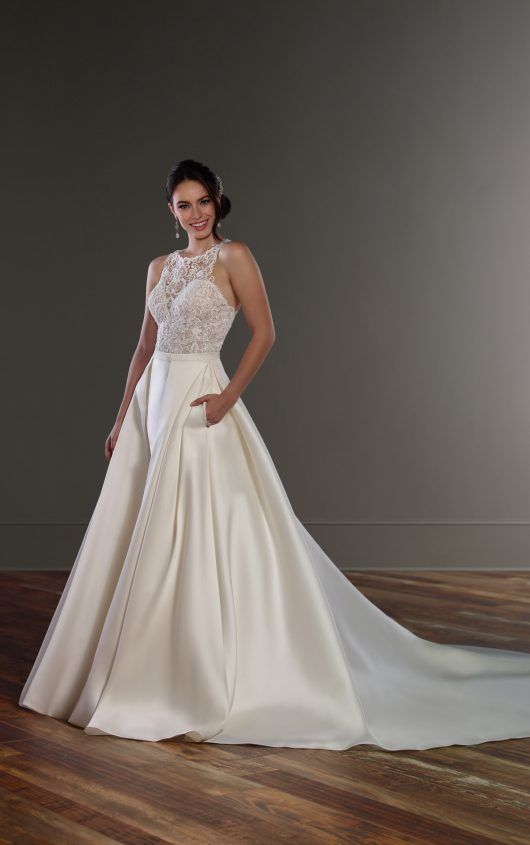 High Neck Detachable Skirt Wedding Dress Separates