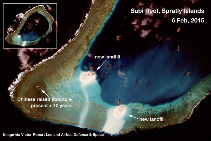 https://medium.com/satellite-image-analysis/china-s-new-military-installations-in-the-spratly-islands-satellite-image-update-1169bacc07f9 Subi Reef