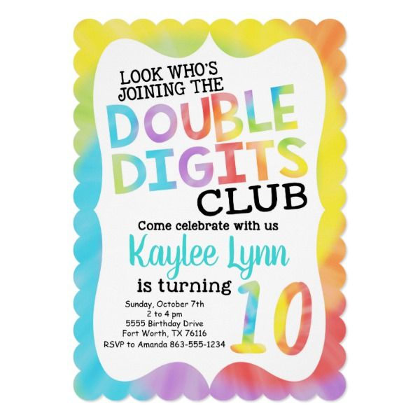 Tie Dye Double Digits 10th Birthday Invitation 10th Birthday Party Ideas And Ins 10th Birthday Invitation Birthday Invitations Girl Girls Birthday Party Themes