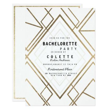 Modern geometrical lwhite faux gold Bachelorette Card - invitations custom unique diy personalize occasions