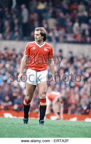 English League Division One match at Old Trafford. Manchester United 1 v Stoke City 0. Ray Wilkins of United. 9th - Stock Photo