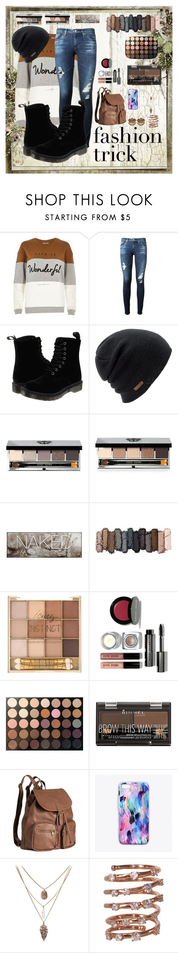 """""""Thanksgiving Fashion"""" by macyofficial ❤ liked on Polyvore featuring River Island, AG Adriano Goldschmied, Dr. Martens, Coal, Bobbi Brown Cosmetics, Urban Decay, Morphe, Rimmel, H&M and Nikki Strange"""