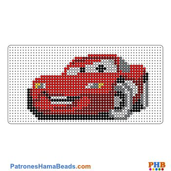 Rayo McQueen plantilla hama bead. Descarga una amplia gama de patrones en formato PDF en www.patroneshamabeads.com