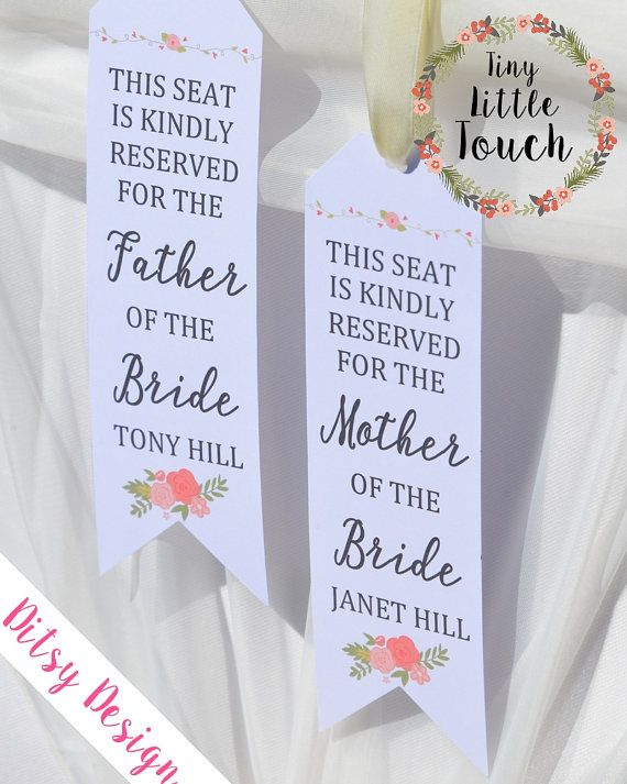 Personalised Wedding Ceremony Reserved Signs Floral #ceremonysigns #weddingsigns #tinylittletouch #reservedsign #ceremony