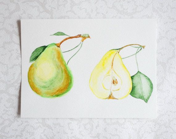 Original Watercolor Pears - Botanical Illustration, Fruit Print, Floral Kitchen Art, Still Life Poster, Hand painted Drawing, Yellow Pear,