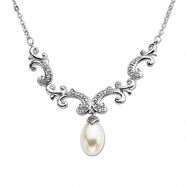 """Zales Cultured Freshwater Pearl and Diamond Accent Necklace in Sterling Silver - 17"""""""