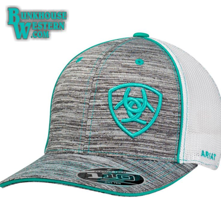 Ariat, Heathered Gray, Cap with Turquoise Stitching, Mesh Back, Cowboy Hat, $32
