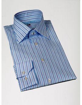 Camicia a righe bianca e blu