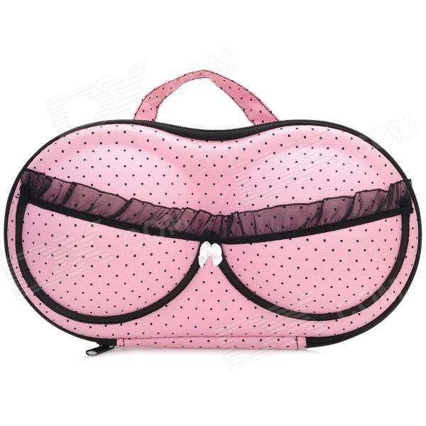 High Quality Stylish Lace + Dot Bra Style Portable Travel Nylon + EVA Underwear Bra  Storage Bag   Pink + Black